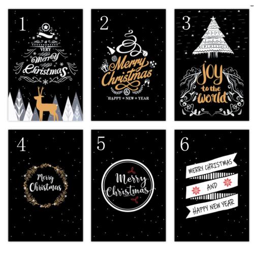 Christmas Gift Cards 10cm*15cm Color Black