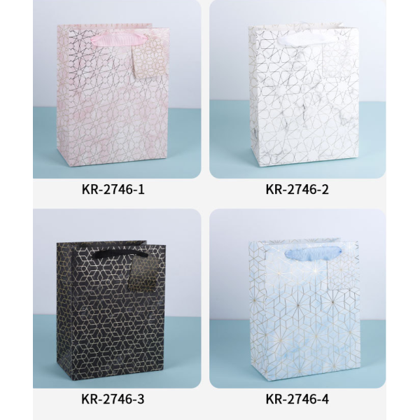 Cheap Paper Gift Bags With Handle Geometric Designs