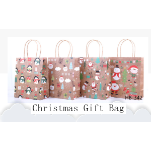 Kraft Paper Gift Bag Merry Christmas Pack 100