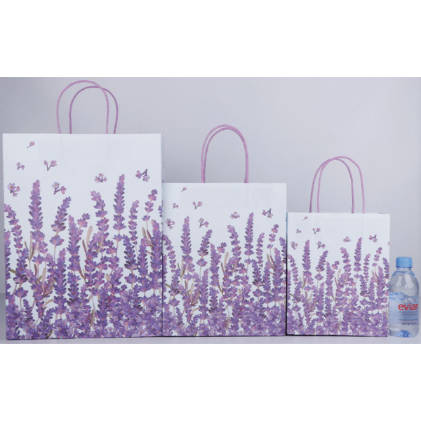Paper Gift Bags With Handles Lavender Design