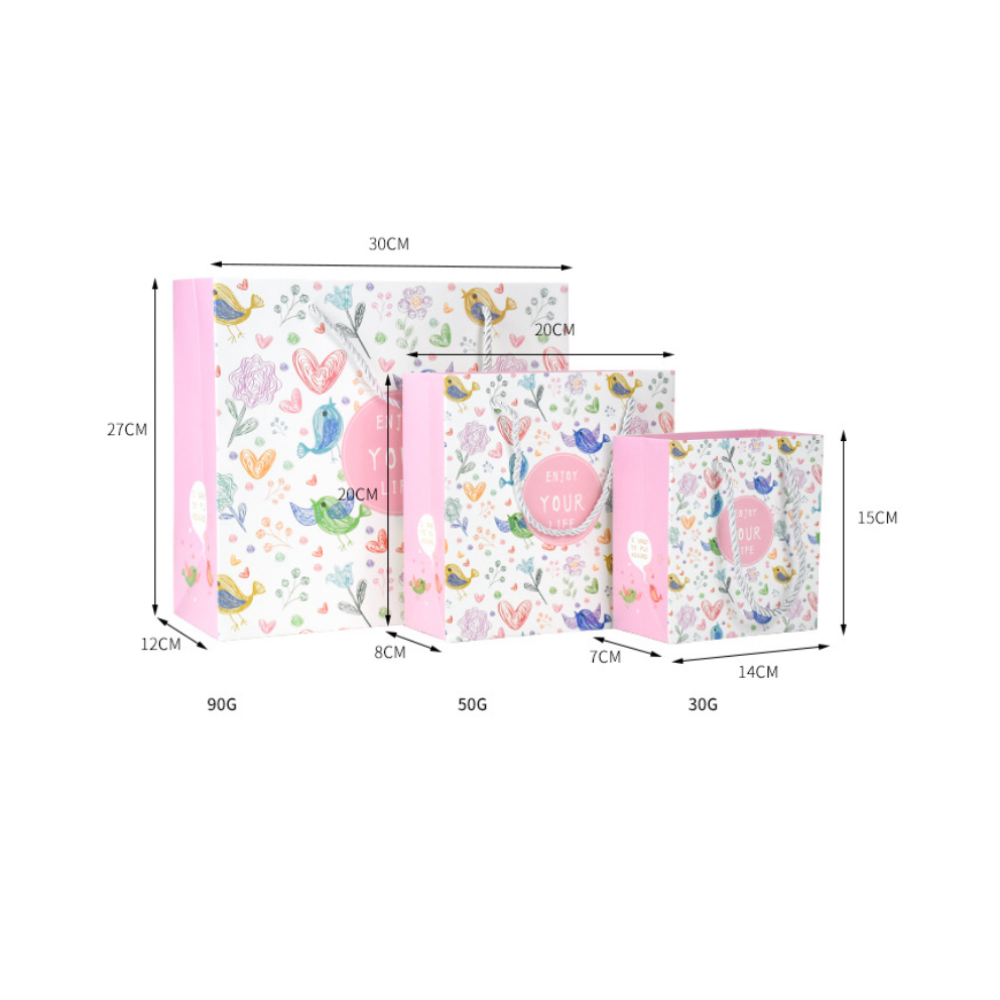 Floral Design Carry Gift Bag Enjoy Your Time