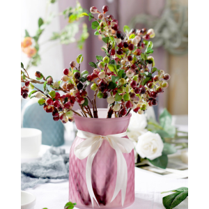 Beautifully Colored Glass Vase With Ribbon For Flower Placement