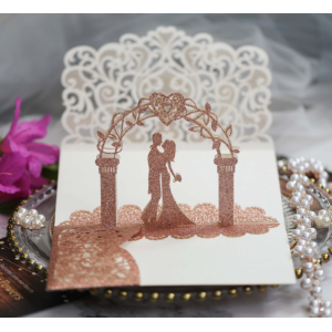 3D Bride And Groom Wedding Invitation Gift Cards