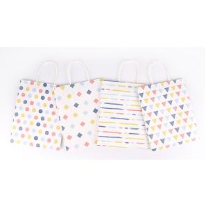 White Cardboard Gift Bag Geometric Designs Pack 100