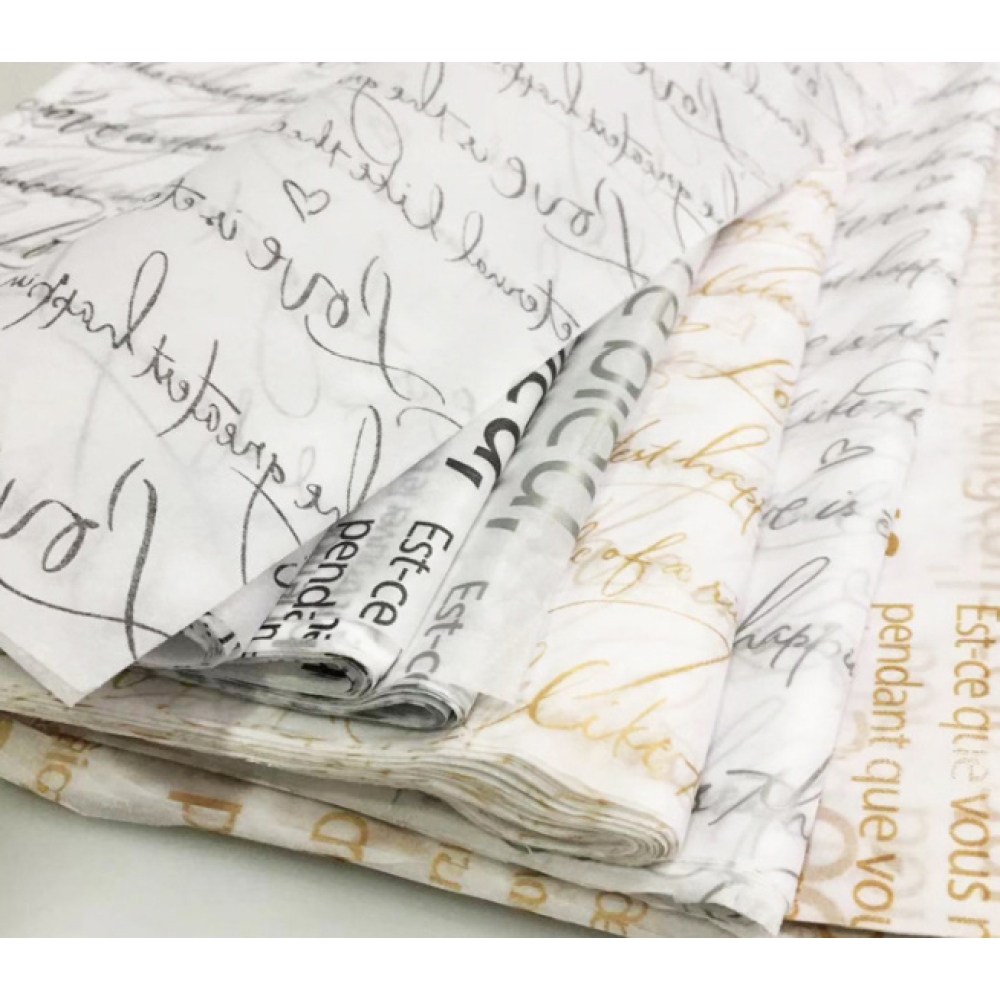 Tissue Paper Flower Wrapping Printed With Letters
