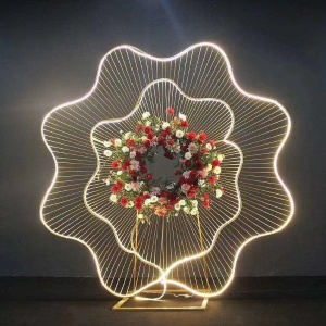 Arch Iron Frame Backdrop Flower Stand for Wedding Stage Decoration With LED Wire For Hire