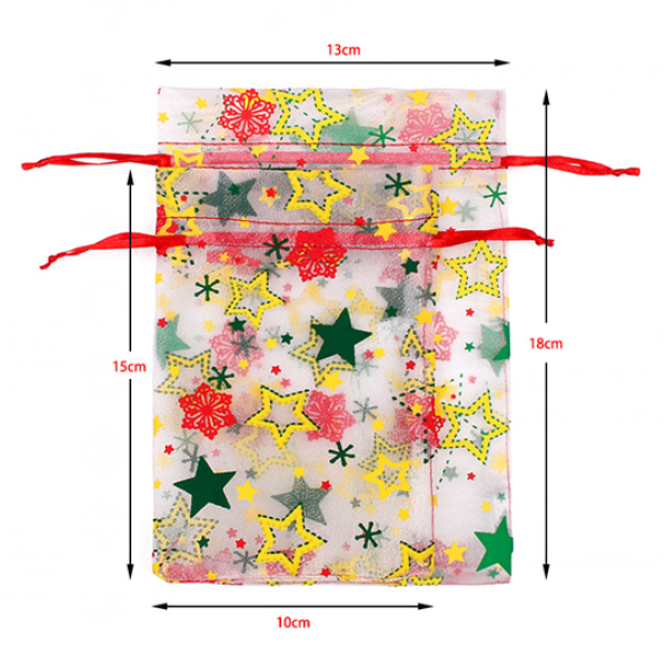 Organza Floral Drawstring Bags For Gift Packaging