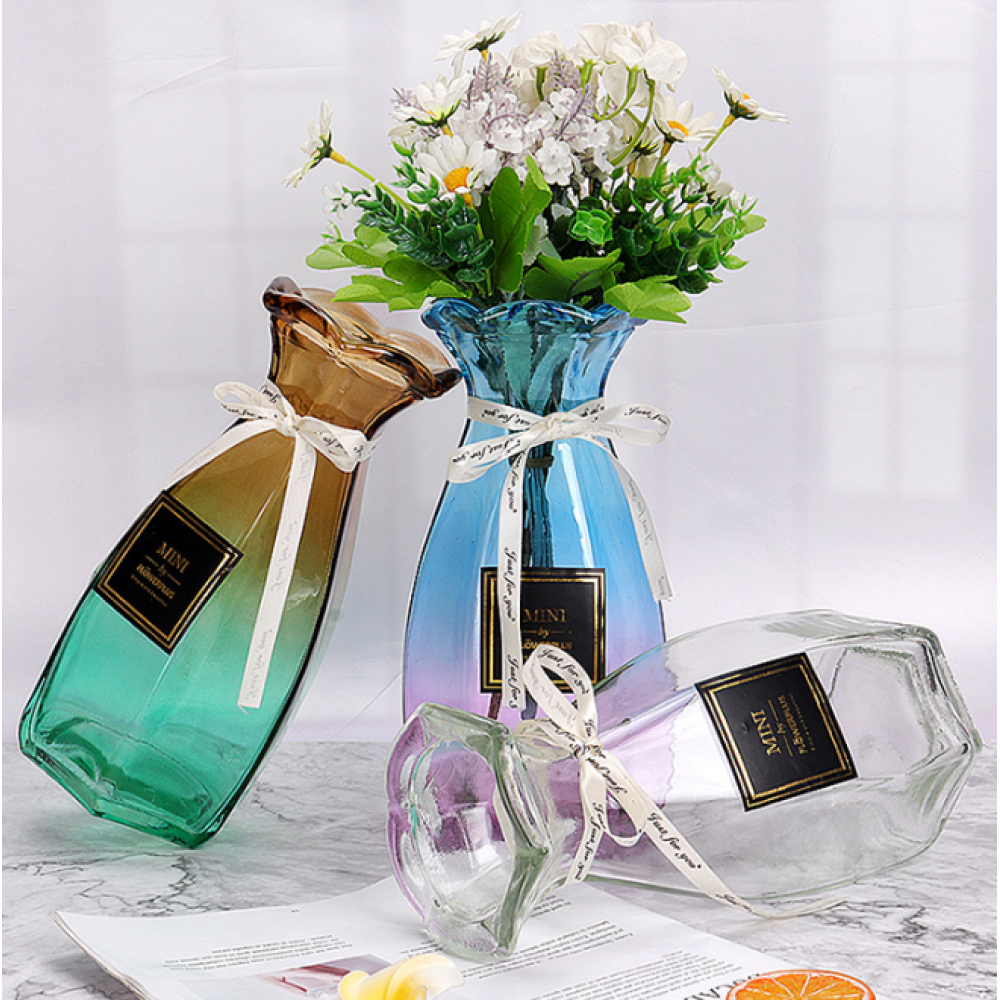 Glass Vase For Flowers Art Gift Decoration