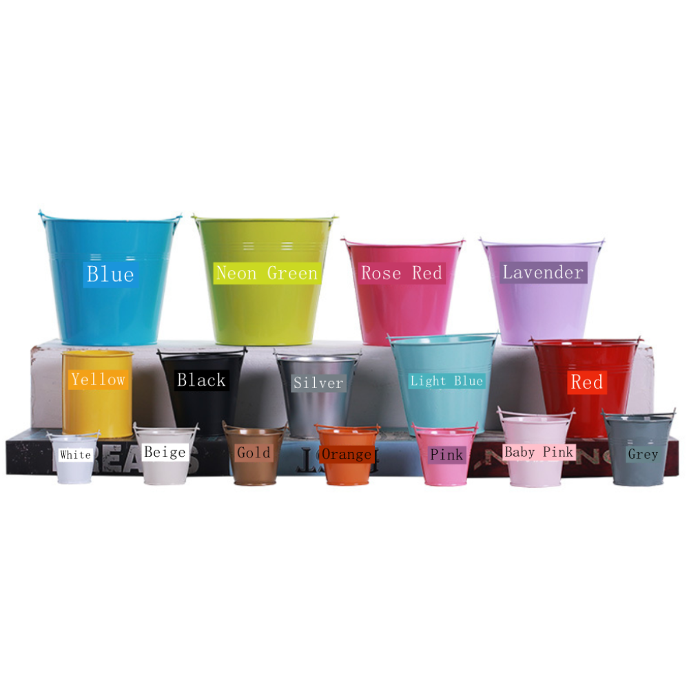 Coloured Tin Buckets In Various Sizes