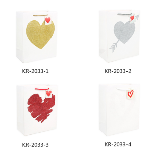 White Cardboard Gift Bag Loving Heart Pack 100