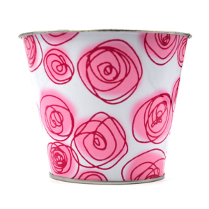 Pink Rose Tin Bucket For Valentine's Gift Decoration