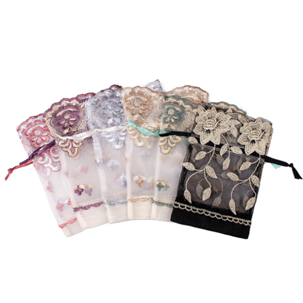 Organza Embroidery Gift Bags For Gift Packaging