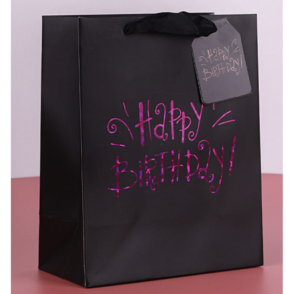 Colorful White Cardboard Paper Gift Bag For Birthday