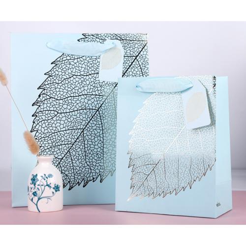 White Cardboard Paper Gift Bag Leaves Design