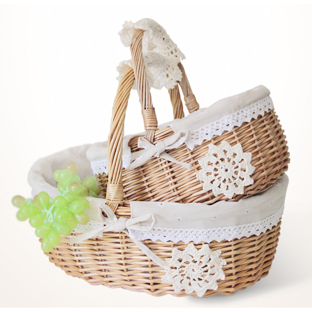 Fruit Basket With Handle Decorative Lace Linen