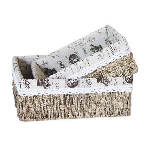 Square Basket With Fabric