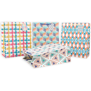 White Cardboard Paper Gift Bag Geometric Designs