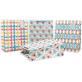 White Cardboard Paper Gift Bag Geometric Designs