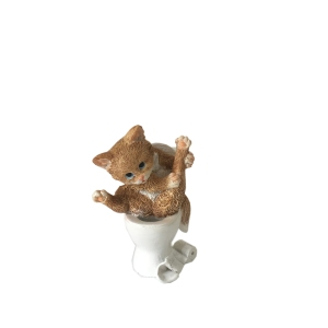 Hand painted Resin Kitten Cute On A Toilet