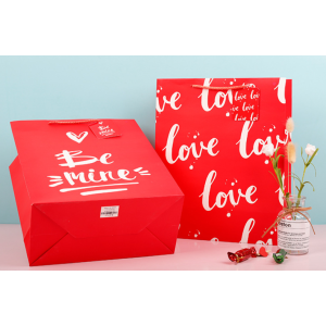 White Cardboard Gift Bag Valentine's Day Love Pack 100