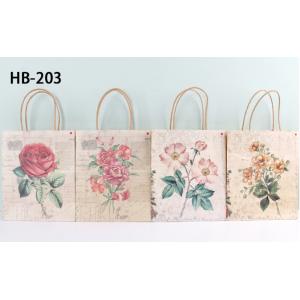 Kraft Paper Gift Bag Floral Designs Pack 100