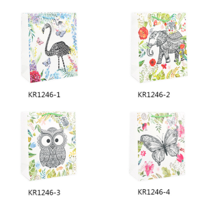 White Cardboard Paper Gift Bag Animal Designs