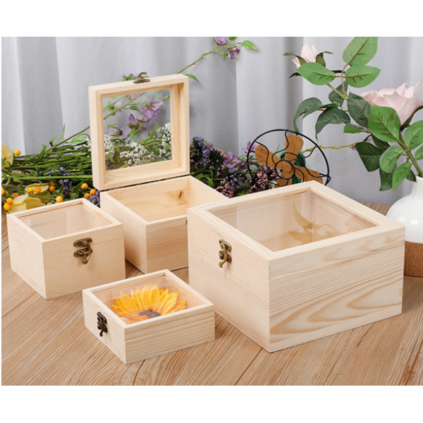 Square Wooden Gift Box With PVC Window