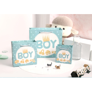 White Cardboard Gift Bag For Baby Girl Bay Boy
