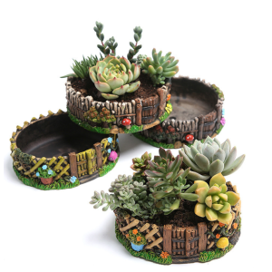 Cute Succulent Pots Fencing Design