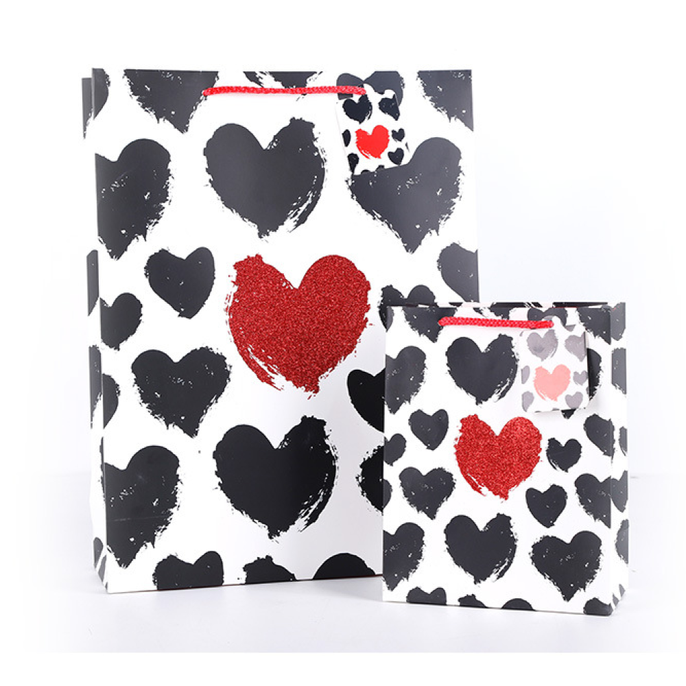 White Cardboard Paper Gift Bag Heart Design