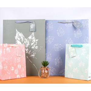 White Cardboard Gift Bag Leaves Design
