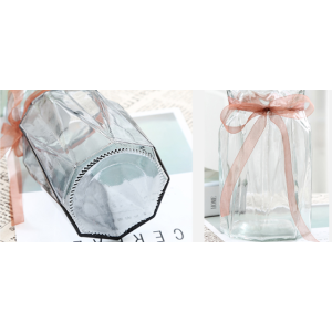 Clear Glass Vase With Ribbon For Flower Present