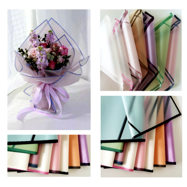 Waterproof Flower Wrapping Cello Sheets Bold Stripes Finish Pack 20