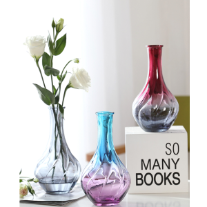 Glass Vase 3 Colors With Narrow Long Bottleneck 3.5*17 cm