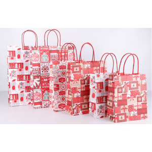 Kraft Paper Gift Bag Christmas Tree Red Pack 100