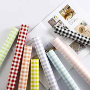 Flower Wrapping Paper Gingham Colorful Design