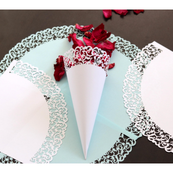 Beautiful Cardboard With Lace Laser Cut Design