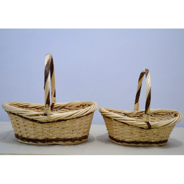 Natural White Oval Basket With Handle