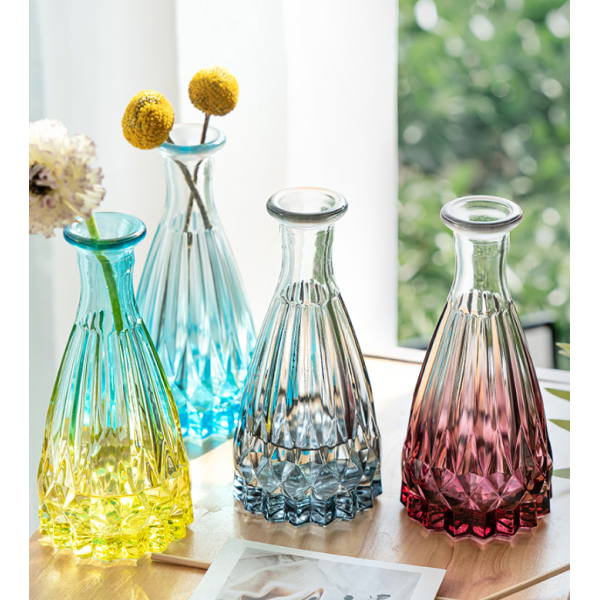 Double Colored Glass Vase With Ribbon For Flower Present