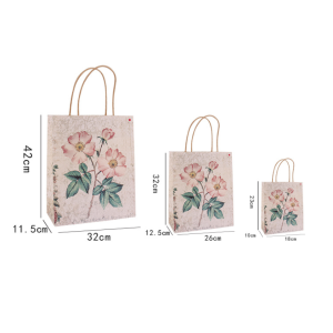 Kraft Paper Gift Bag Floral Designs Pack 100
