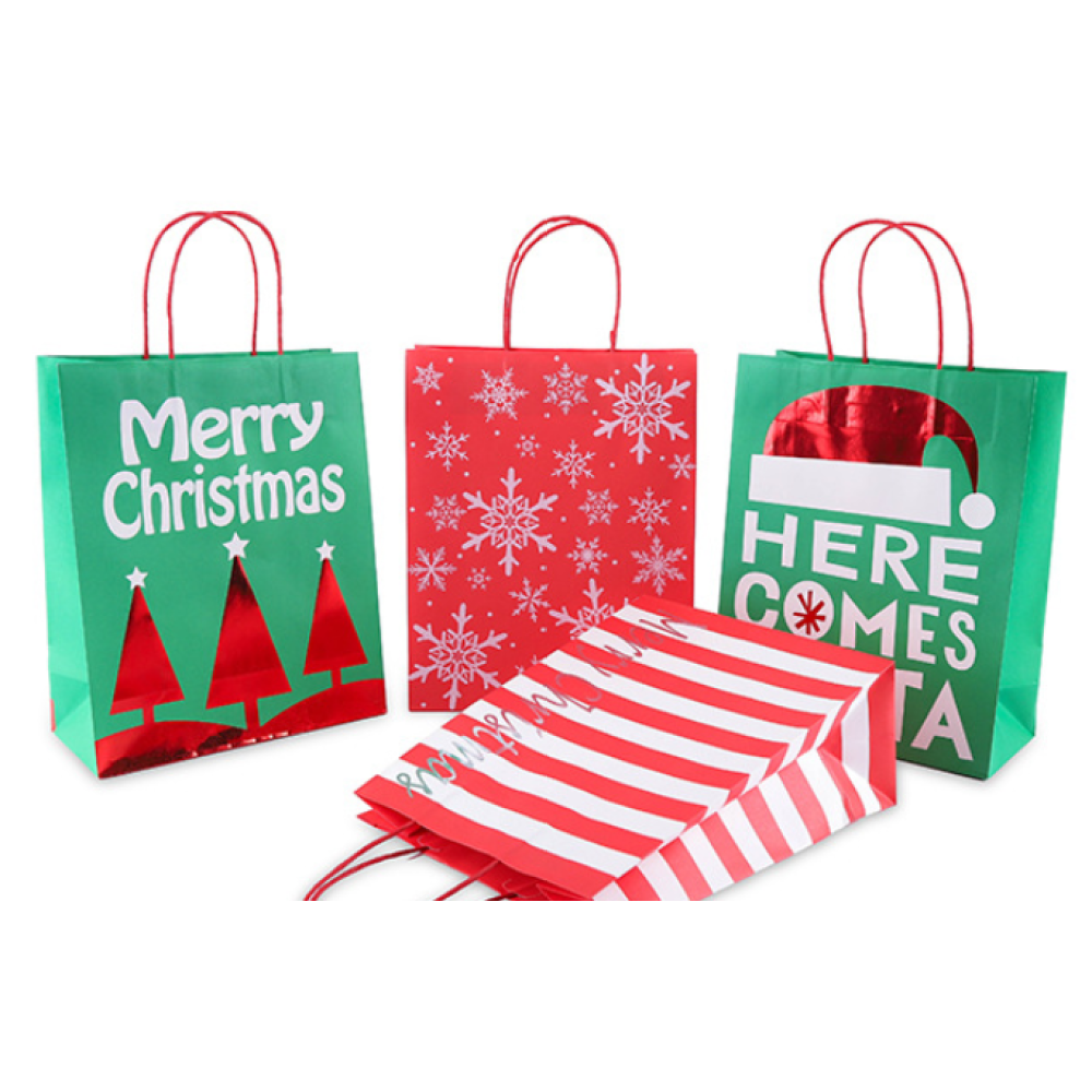 White Cardboard Gift Bag Merry Christmas Pack 100