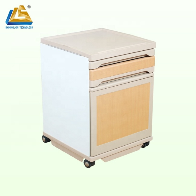 Wooden style warm bedside cabinet with castors