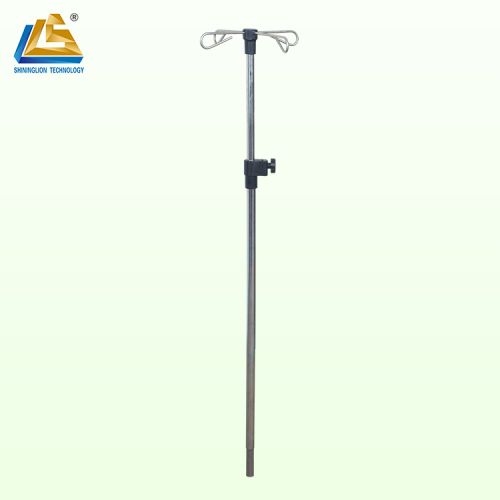 Stainless steel iv pole for hospital bed
