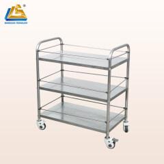3-tier Stainless Steel Trolley with Wheels Easy Handling Dressing Trolley