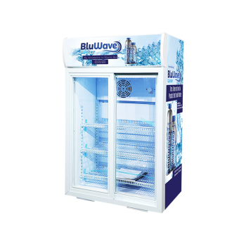 """Meisda SC105L 84 Can 3.7 cu.ft Upright Cooler with Sliding Door and Merchandising Panel 24.8"""""""