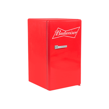 """Budweiser Beer SC80H 98 Can 2.8 cu.ft Red Retro Beverage Cooler with Custom Hindle  17.3"""""""