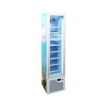 "Premium Ice-Cream White SD105 3.8 cu.ft Slimline Upright Display Freezer with 3-Side HD Printed Sticker16.5"""