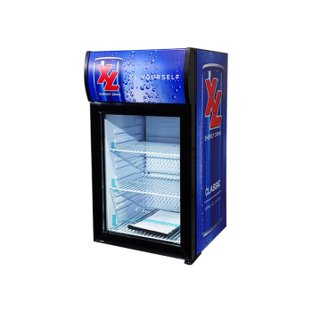 """Meisda SC40B 36 Can 1.4 cu.ft Countertop Display Cooler with Branded Lampbox 15.7"""""""