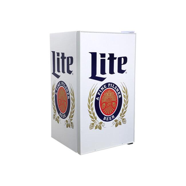 "Lite Beer SC98 85 Can 3.5 cu.ft Vintage Bar Fridge with Solid Branded Door Design 18.9"""