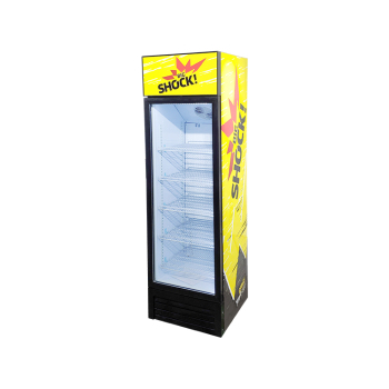 """Meisda SC235BG 240 Can 8.3 cu.ft Vertical Chiller with Swing Door and 3-Side Sticker 21"""""""